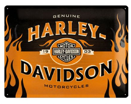 Harley Davidson Logo Orange - 3D  Metal Wall Sign